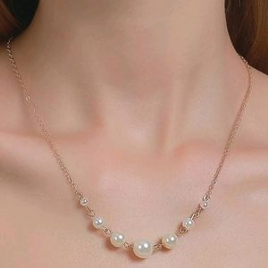 💖 Gold chain dainty pearl accent decor necklace